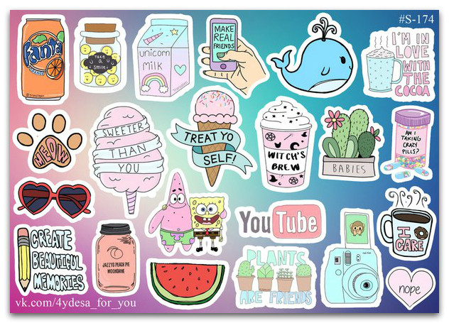 Stickers Pack Watercolor #174