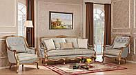 """Комплект мягкой мебели диван и 2 кресла из натурального дерева """"Сильвио"""""""
