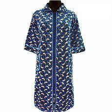 Теплий халат велюровий домашній на блискавці з рукавом три чверті