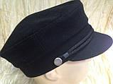 Мужской картуз из драпа синего и чёрного цвета 55 56, фото 5