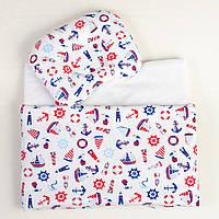 Комплект в детскую коляску BabySoon три предмета Морячок (404), фото 1