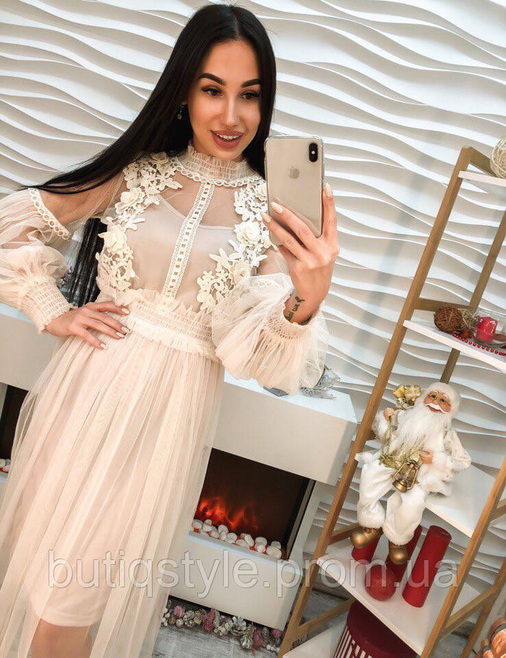 69f3b4ea5d7 Очень красивое платье шифон с дорогим кружевом только синее