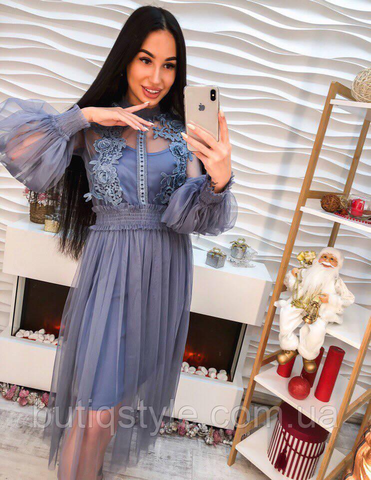 b3e73d0158e Очень красивое платье шифон с дорогим кружевом только синее -