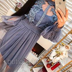 Очень красивое платье шифон с дорогим кружевом только  синее