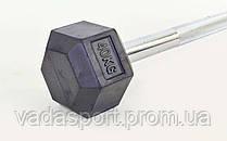 Штанга фиксированная прямая обрезиненная Rubber Hexagon Barbell 40кг TA-6230-40
