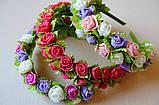 Обруч в пастельних тонах з трояндочками з латексу і атласними листочками 125 грн, фото 4