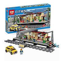 """Конструктор Lepin 02015аналог LEGO City Сити 60050  """"Железнодорожная станция"""", 356деталей"""
