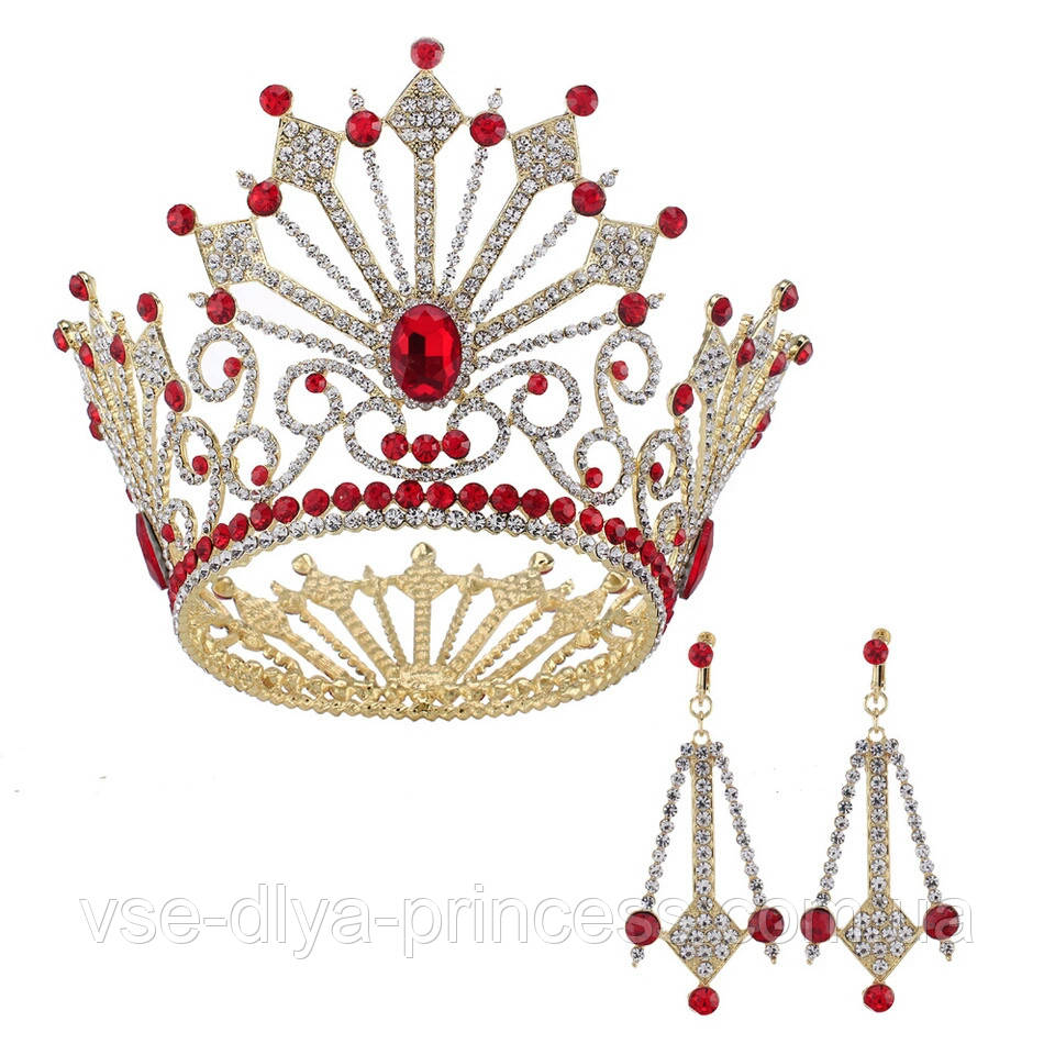 Круглая корона с серьгами под золото с красными камнями, диадема, тиара, высота 12 см.