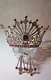 Круглая корона с серьгами под золото с красными камнями, диадема, тиара, высота 12 см., фото 3
