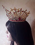 Круглая корона с серьгами под золото с красными камнями, диадема, тиара, высота 12 см., фото 5