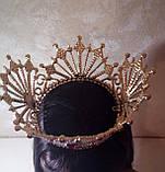 Круглая корона с серьгами под золото с красными камнями, диадема, тиара, высота 12 см., фото 6