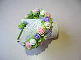 Обруч в пастельних тонах з трояндочками з латексу і атласними листочками 125 грн, фото 3