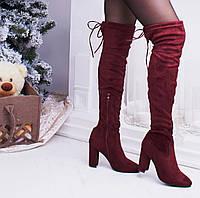 Женские красные замшевые сапоги ботфорты
