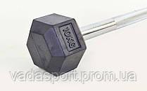 Штанга фиксированная прямая обрезиненная Rubber Hexagon Barbell 10кг TA-6230-10