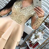 Модное женское платье кружево с вышивкой, дайвинг беж, розовый, мрсала