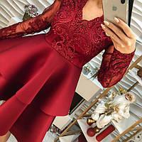 Модное женское платье кружево с вышивкой, дайвинг беж, марсала