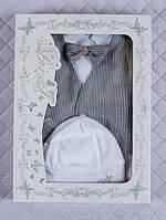 """Крестильный набор """"Джентльмен"""" для мальчика (человечек с жилетом и шапочка) 56-62р"""