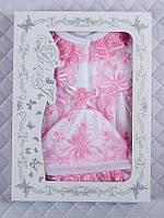 Крестильный набор для девочки 0-3 мес. Белый с розовым кружевом