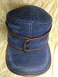 Кепка немка трансформер из плотного синего джинса 57-58.59, фото 3