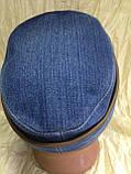 Кепка немка трансформер из плотного синего джинса 57-58.59, фото 4