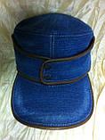 Кепка немка трансформер из плотного синего джинса 57-58.59, фото 7