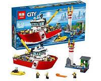 """Конструктор Lepin 02057аналог LEGO City Сити 60109  """"Пожарный катер"""", 461деталь"""