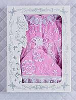 Крестильный набор для девочки 0-3 мес. Розовый с белым кружевом