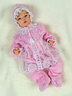 Роскошный крестильный набор для новорожденной девочки. Розовый с белым кружевом, фото 1