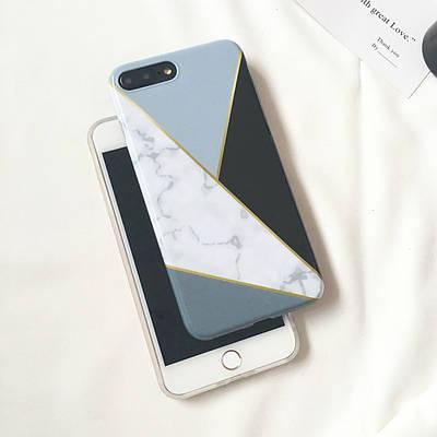 Чехол накладка на iPhone 6/6s белый мрамор с черным треугольником, плотный силикон