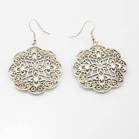 Кружевные серебряные серьги бижутерия Амира