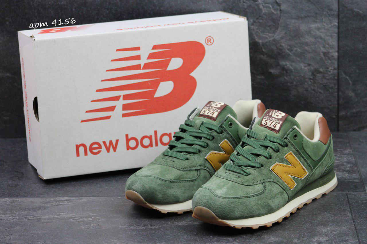 Мужские кроссовки New Balance 574 нью беланс кроссовки -зеленые -Замша f4f82d371b045