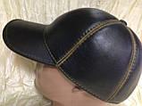 Чорна Бейсболка з коричневою рядком з натур шкіри 56-59, фото 2