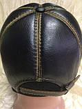 Чорна Бейсболка з коричневою рядком з натур шкіри 56-59, фото 3