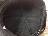 Чорна Бейсболка з коричневою рядком з натур шкіри 56-59, фото 4