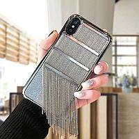 ЧехолнакладканаiPhone7 Plus/8plusсметаллическойцепьюсеребро