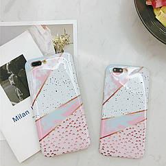 Чехол накладка на iPhone 6/6s бело-розовый мрамор, плотный силикон