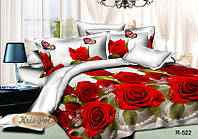 """Комплект постельного белья Евро двуспальный, 3D """"Алые розы с жемчугом"""""""