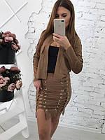Стильная женская юбка мини со шнуровкой