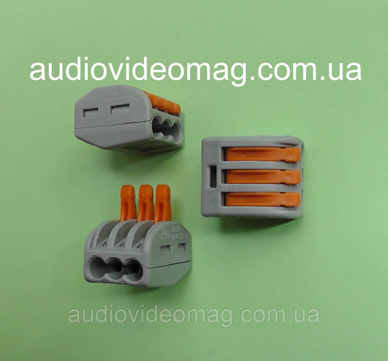 Многоразовая зажимная соединительная клемма 222-413 на 3 провода