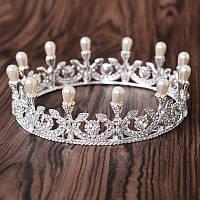 Круглая корона под серебро с жемчугом, диадема, тиара, высота 5,5 см.