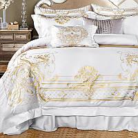 Элитное постельное белье Queen size из египетского хлопка 6 шт. + декоративная подушка