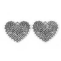 Подвеска Сердце, Цинковый сплаве, Античное серебро, ажурная резьба, 29 мм x 25 мм