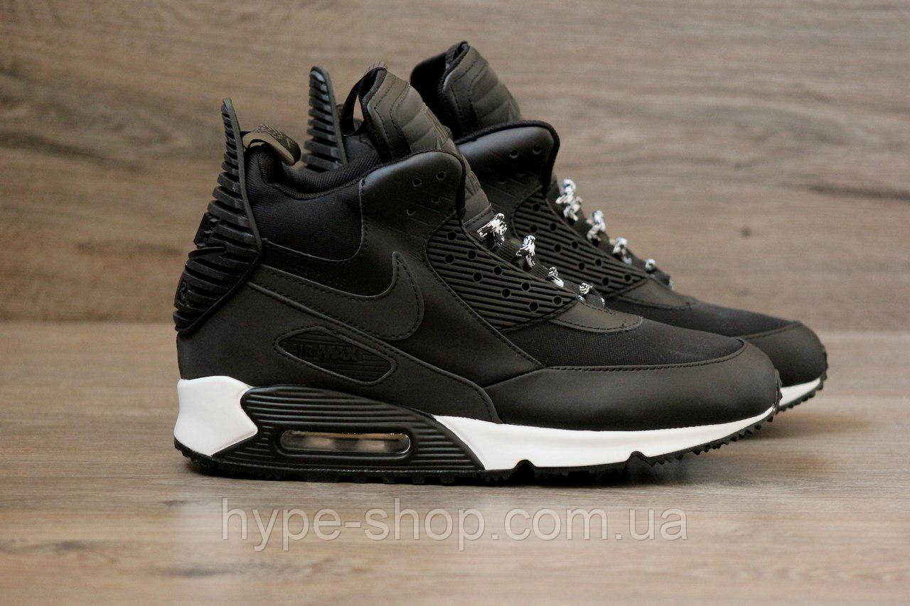 Мужские черные кроссовки Nike Air Max 90 Sneakerboot   Реплика -