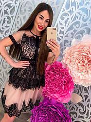 Красивое вечернее платье дорогое кружево короткий рукав