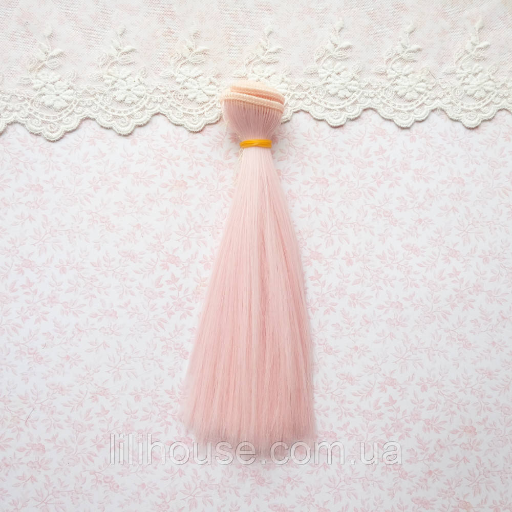 Волосы для кукол в трессах, бледно-розовый - 15 см