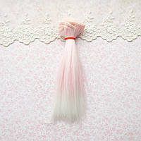 Волосы для кукол в трессах, омбре  розовый с белым - 15 см