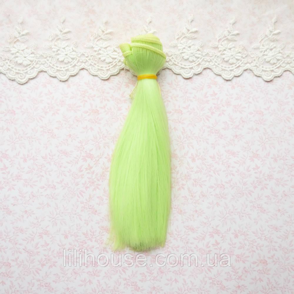 Волосы для кукол в трессах, ярко-салатовый - 15 см