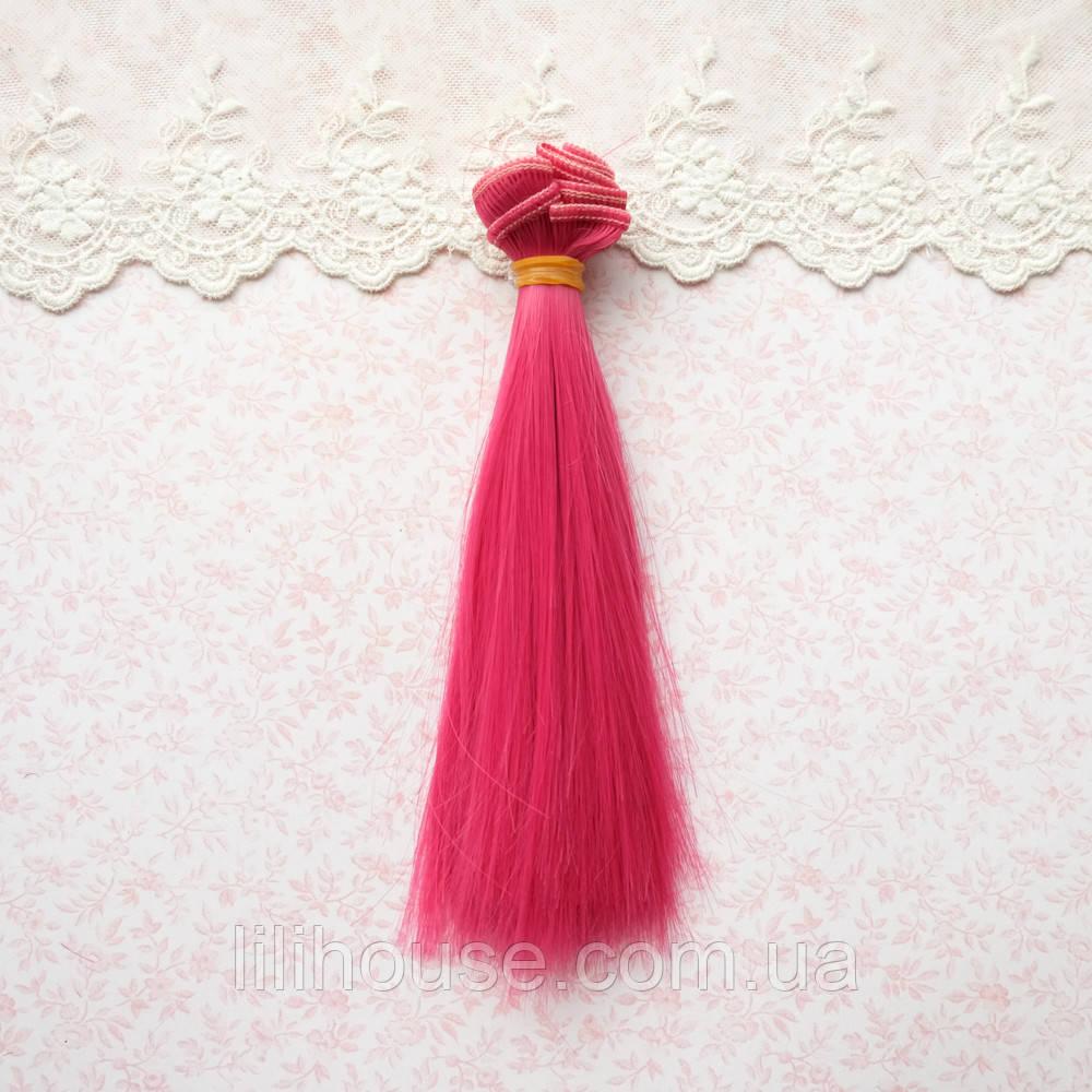 Волосы для кукол в трессах, ярко-малиновый - 15 см