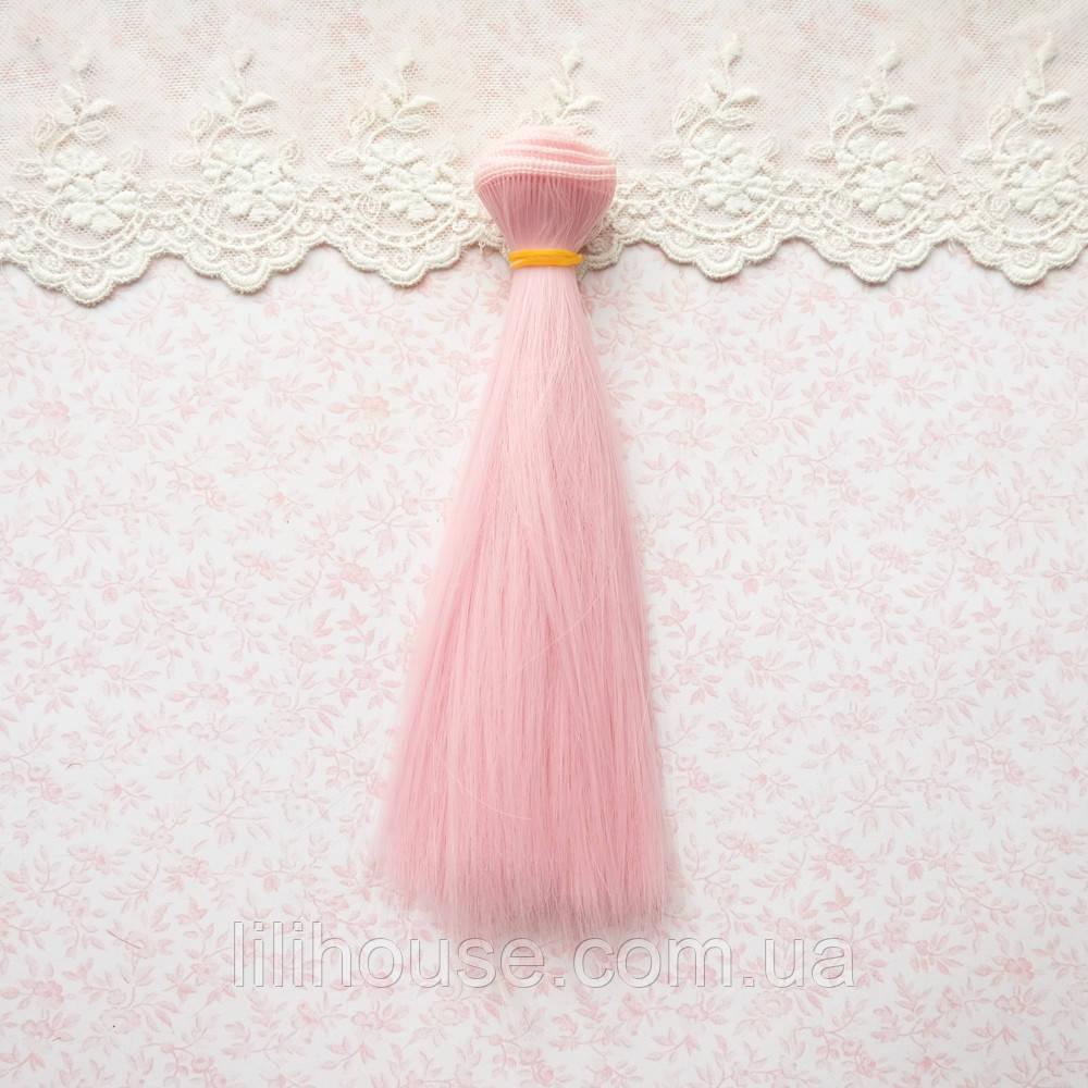 Волосы для кукол в трессах, розовые - 15 см