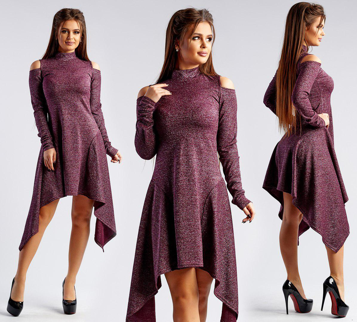 Асимметричное платье с люрексом / 3 цвета   арт 3656-169